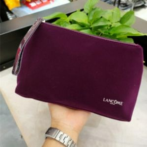 Lancome faux suede Burgundy signature cosmetic bag